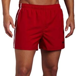 Mens Speedo Talsan Red Striped Volley Swim Trunks